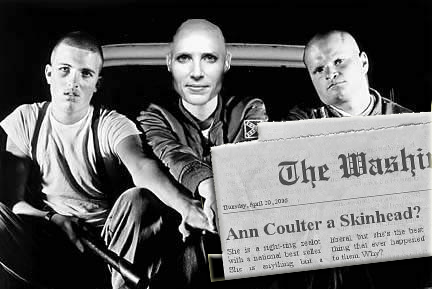 "<a href=""http://www.impiousdigest.com/entertainment/gratuitous-impiety/ann-coulters-topless-book-reading/coulter-my-life-as-an-ex-man/"">""Skinhead-My Life as An Ex-Man""</a>"